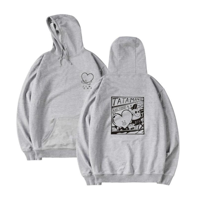 Love Yourself Zipper Hoodies Pure Color Printing Sweatshirt V Jimin Hooded Women Men Streetwear 2018 New Arrive