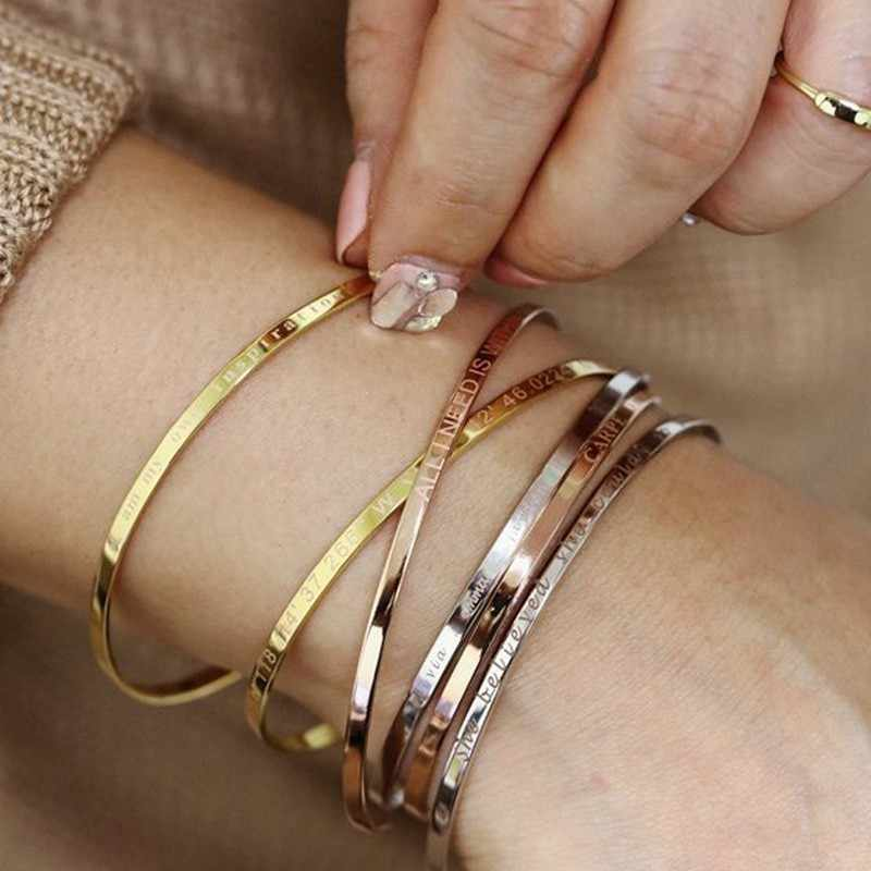 Inspirational Cuff Bracelet Bangle For Women Rose Gold Silver Engraved Mantra Bracelets Wife Fiance Personalized Gifts