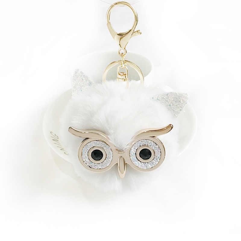 Grandes Olhos de Coruja Cabeça Chaveiro para As Mulheres Da Moda Bonito Fantástico Animais pom pom Keychain Da Corrente Chave para o Sexo Feminino para As Mulheres llaveros
