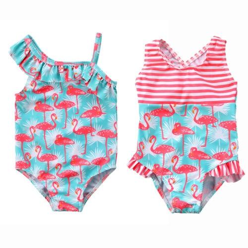 Hot Cute Toddler Baby Kids Girl Flamingo Sportswear Bikini Swimsuit Swimwear Bathing Suit Beachwear One-Piece Suit Купальник