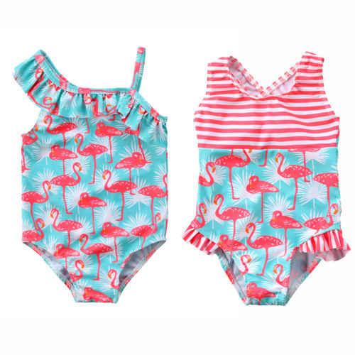 Лидер продаж; милый детский спортивный костюм с фламинго для маленьких девочек; купальник-бикини; купальный костюм; пляжная одежда; комплект из одного предмета