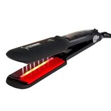 EAS-Professional Steam Hair Straightener Ceramic Vapor Infrared Heating Flat Iron Salon 2 inch Styling Tool Black EU Plug tool plug ceramic led screen hair styling eu straightener stream comb