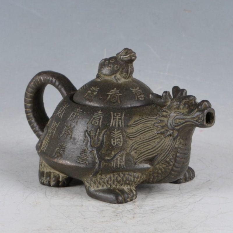 Rare Bronze Chinese Traditional Hyakuhisa Turtle Teapot