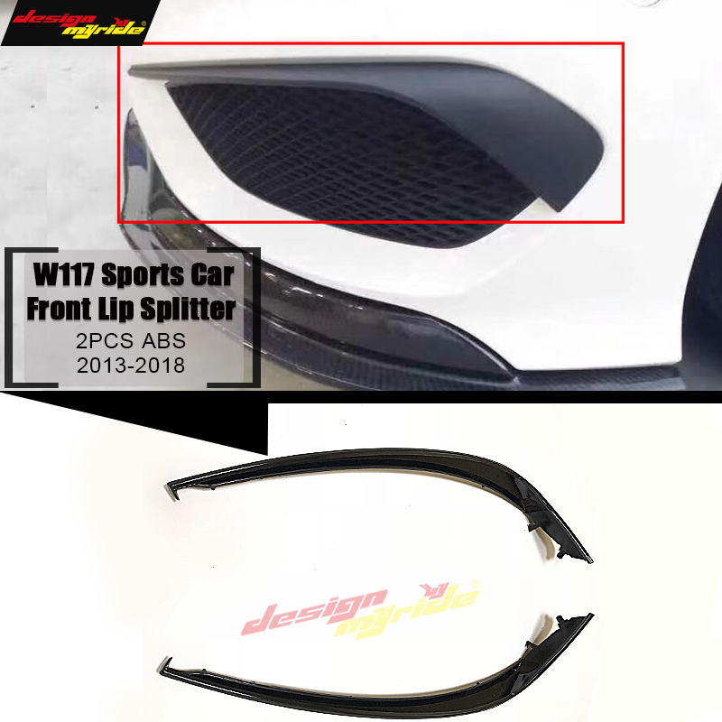 W117 Sports Front Lip Splitters Air Flow Vent ABS For Benz CLA Class W117 CLA180 200 2Pcs Bumper Splitter Wing Spoiler 2013 2018 in Bumpers from Automobiles Motorcycles