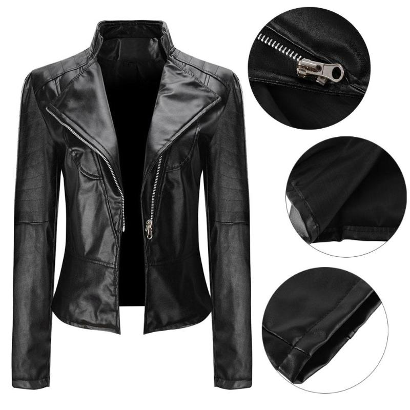 Casual Women Stand Collar   Basic     Jackets   Faux Leather Classic Zipper Coat