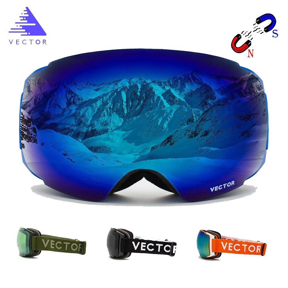 Easy Interchangeable Magnets In Frame And Lenses Without Taking Off OTG Ski Snowboard Goggles Spherical Anti-fog Snow Glasses