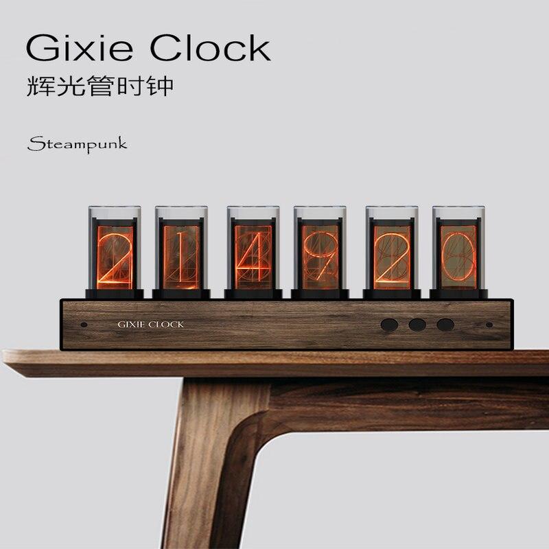 Super Sale !!! 6 Bit RGB LED Glow Digital Clock Nixie Tube Clock Kit DIY Electronic Retro Desk Clock 5V Micro USB Powered