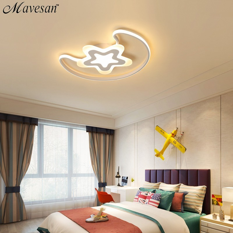New Arrival Moon Star Led modern chandelier Lighting for Child Room Bedroom acrylic lamps With Remote