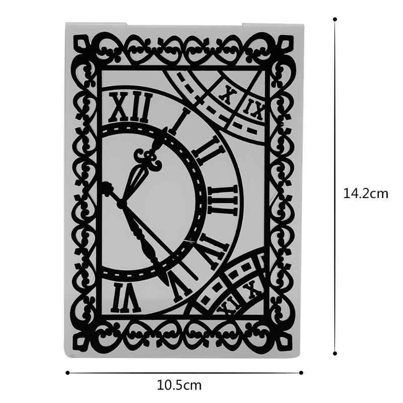 1pc Clock Scrapbooking Embossing Folder Template Plastic Handmade DIY Photo Album Decorative Gift Paper Card Craft Arts Supplier