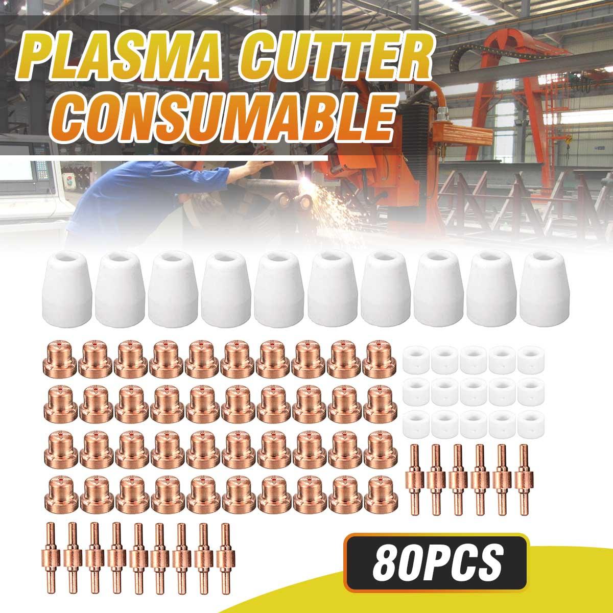 Peças Da Tocha de Corte Plasma Eletrodo 80 Acessório Kit Cortador de Plasma Eletrodos Dicas Para LG-40 PT-31 CUT40 CUT50