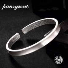 PANSYSEN 100% Real S999 Sterling Silver Vintage Bangles for Women Pure Sample Design Birthday Graduation Bangle Gift Girls