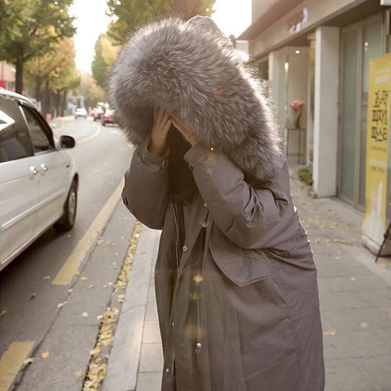 Lâche Gate Épaississement Col Vêtements East Surcoat De Corée Coton Chapeau Veste Survêtement Rembourré Oversize Femme D'hiver Longue Fourrure Lourde nBxw8wFS