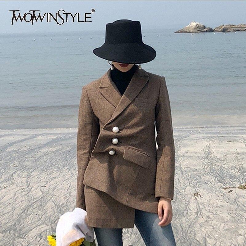 TWOTWINSTYLE Pearls Plaid Wool Blazer Coat Female Long Sleeve Side Split Irregular Women's Suit Vintage Fashion 2018 Autumn New