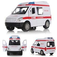 Putih Ambulans Kendaraan Medis Mainan 1/32 Alloy Diecast Mobil Model dengan Cahaya & Suara Hadiah untuk Anak-anak