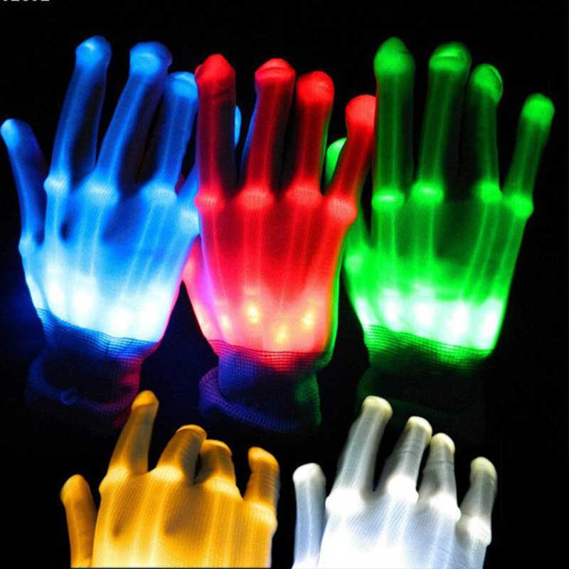Pair Of Colorful Led Gloves Rave Light Finger Lighting Flashing Uni Skeleton Glove