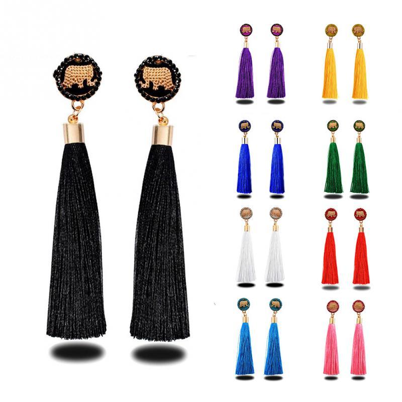 Fashionable Women New Girl Elephant Ear Stud Earrings Tassels Decoration Ear Drop