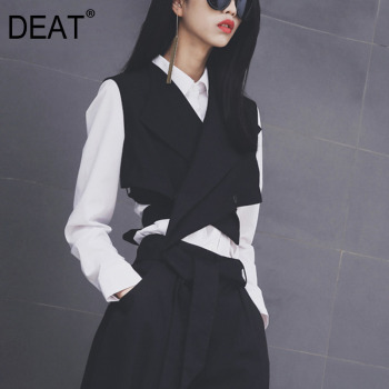 DEAT New 2020 European Fashion Women Solid Black Vest Sashes Sleeveless Button Women Waistcoat Free Size Vest WD81201