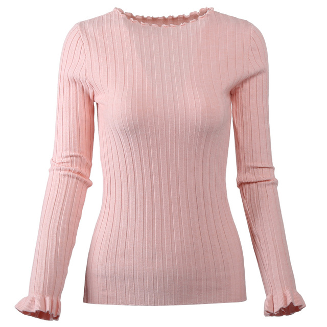 Korean Women Sweater Fashion O-Neck Solid Knitted Jumper Spring Autumn Tops  Ladies Slim Fit Knitting Pullover Pull Femme Hiver 683637b1cdda