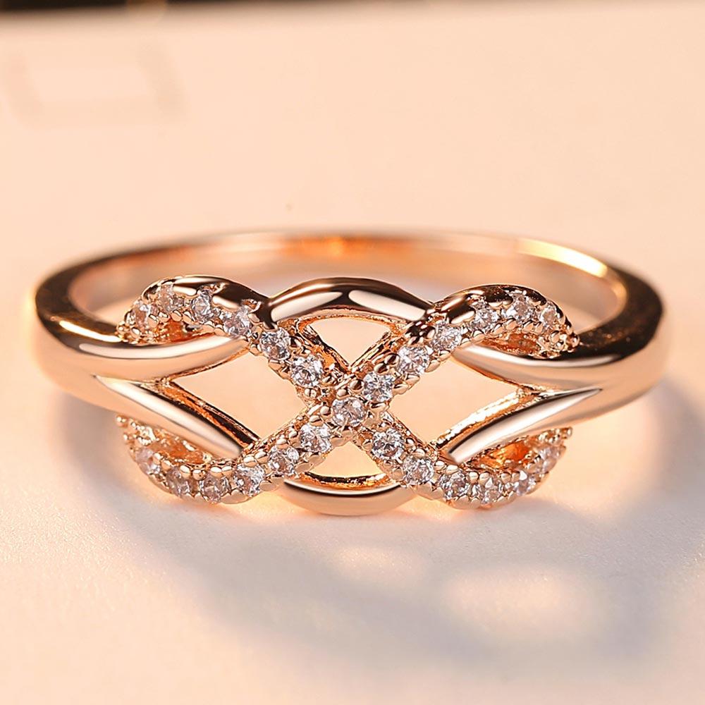 Beiver новые кольца с фианитами и кристаллами для женщин, модный дизайн, массивное кольцо из розового золота, свадебные украшения