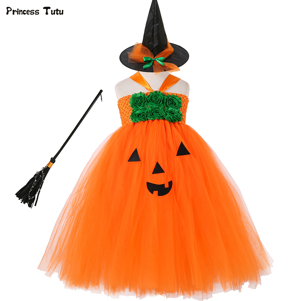 Autumn Pumpkin Tutu Dress Orange Green Flower Princess Dress Kids Halloween Costumes for Girls Fancy Tulle Dress Party Clothes