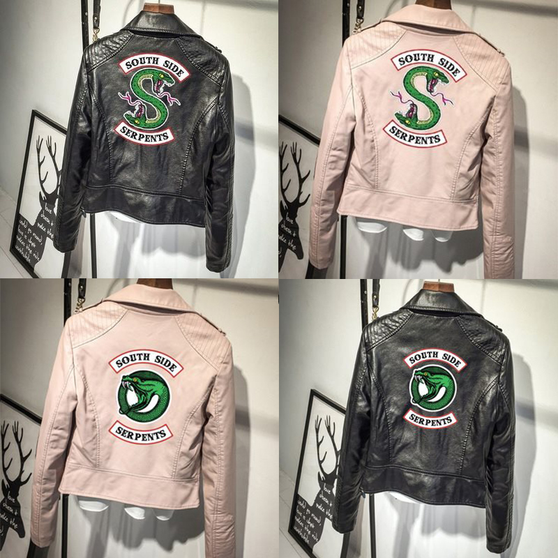 PU Southside Riverdale Leather Jackets Serpents Pink/Black Women Print Punk Leather Harley Locomotive zipper Jackets For Women