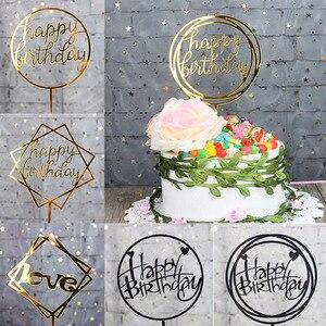 Image 1 - Topper สำหรับเค้กทำจากอะคริลิค Glitter เค้กวันเกิดแฮปปี้ Topper ตกแต่งแขวนแบนเนอร์ Baby Shower Wedding PARTY Supplies