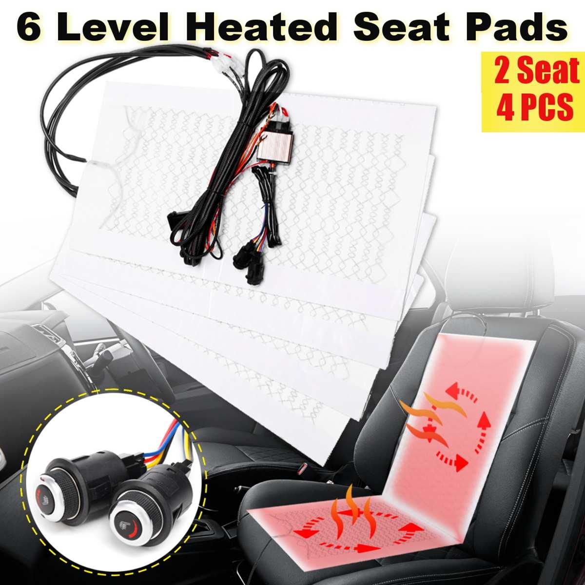 4 pièces 6 niveau 12 V en Fiber de carbone universel voiture chauffage chauffant coussins de siège hiver plus chaud housses de siège