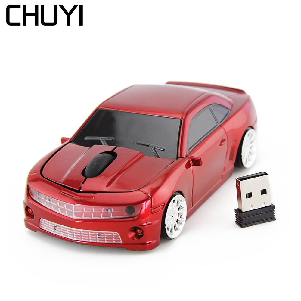 USB 2.4GHz Chevrolet Camaro Car Wireless Optical Mouse Gaming PC MAC Mice Blue