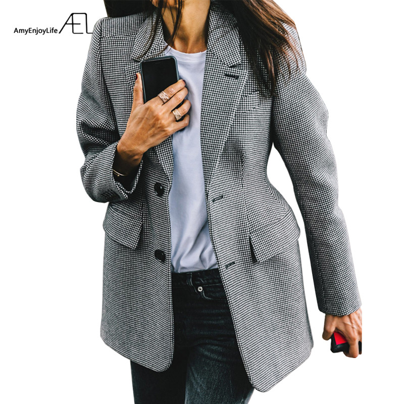 AEL Plaid Women's Blazer Long Sleeve Lapel Collar Pocket Slim Female Coat Spring Office Lady Fashion Clothin(China)