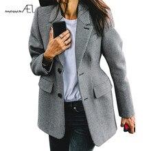 Casaco feminino ael xadrez de lapela, manga longa, com bolso, slim, moda para primavera/escritório