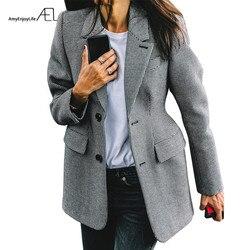 Chaqueta de mujer AEL Plaid de manga larga con cuello de solapa y bolsillo ajustada para oficina de Primavera