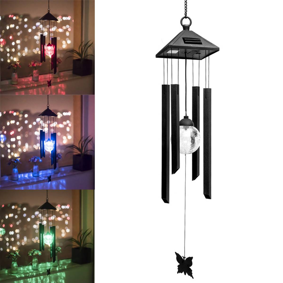Outdoor LED Solar Lamp Hummingbirds dragonfly Wind Home Garden Decor Solar Light Solar Powered Color-Changing Wind Chime LightOutdoor LED Solar Lamp Hummingbirds dragonfly Wind Home Garden Decor Solar Light Solar Powered Color-Changing Wind Chime Light