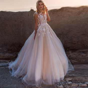 Weilinsha Cap Sleeve Applique Ball Gown Wedding Dresses O-neck Bridal Gowns Shinny Tulle Robe De Mariage Custom Design