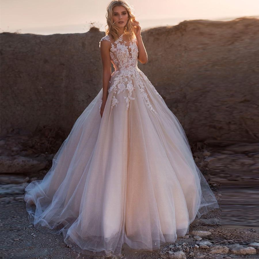Weilinsha, бальное платье с коротким рукавом и аппликацией, свадебные платья, свадебные платья с круглым вырезом, блестящее Тюлевое платье для свадьбы, индивидуальный дизайн