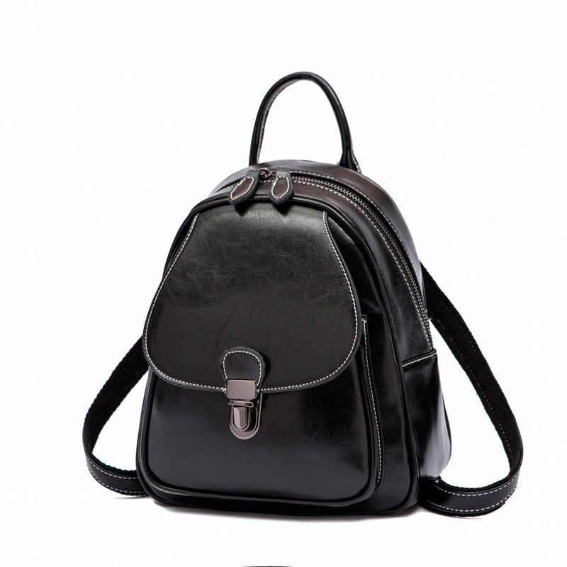 Huile cire peau de vache femmes sac à dos filles petite école sac à dos Design de mode femme sac de voyage en cuir véritable sac à dos