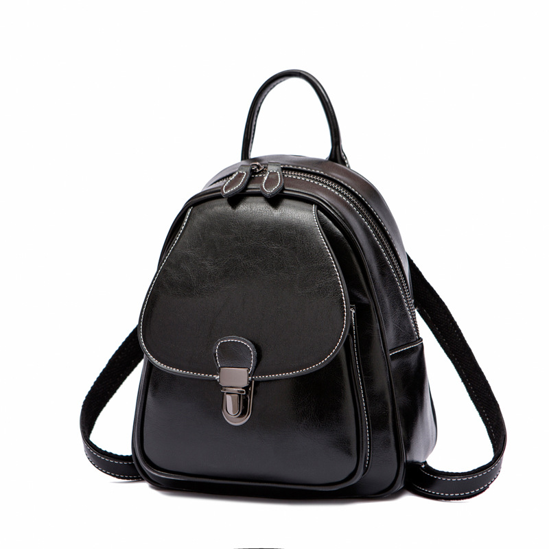 Oil Wax Cowhide Women Backpack Girls Small School Daypack Knapsack Fashion Design Female Travel Bag Genuine Leather Rucksack