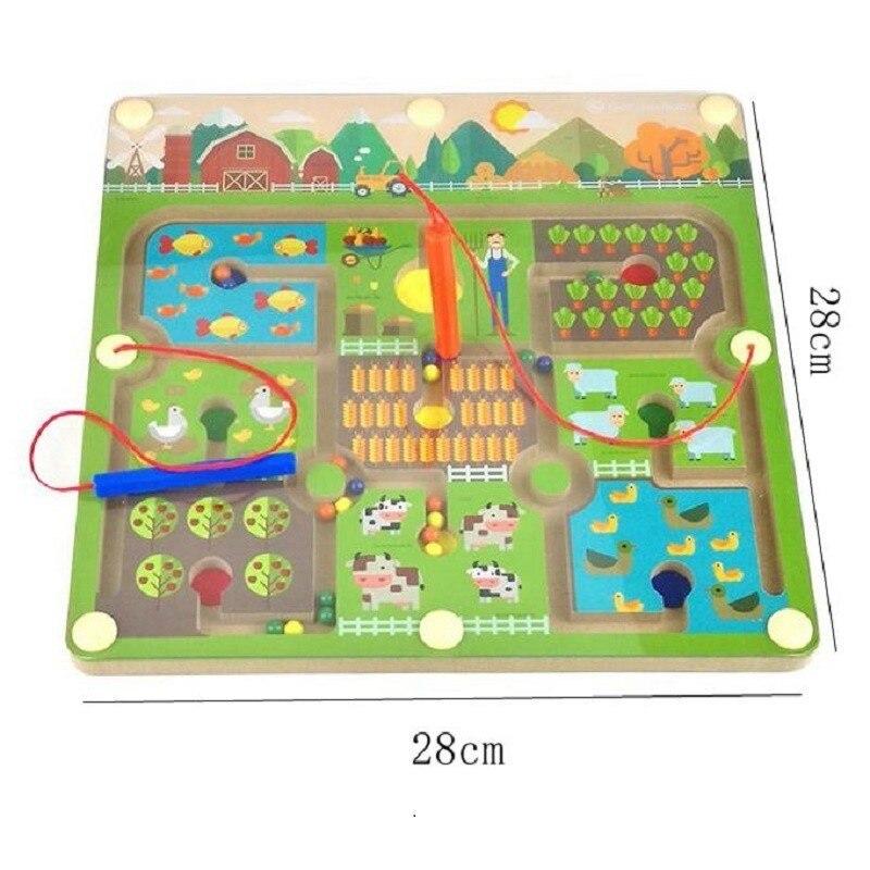 Stylo à perles magnétique labyrinthe thème de la ferme jeux Parent-enfant Puzzles Montessori en bois jouets éducatifs pour les enfants d'âge préscolaire - 5