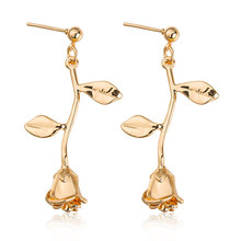 2019 Female Gold/Rose Gold/Silver Color Metal Rose Flowers Stud Earrings For Woman Romantic Delicate Wholesale