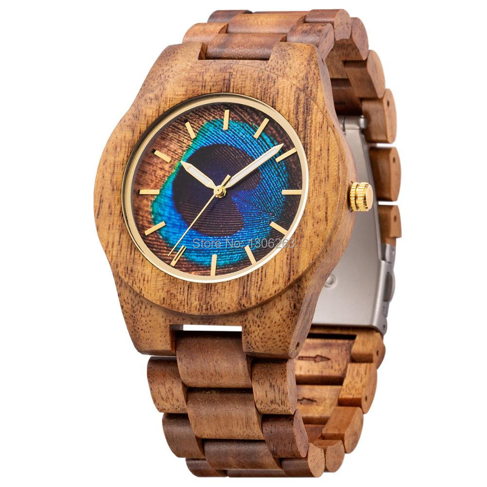 MUJUZE Wooden Watch Japan Movement Designer Brand-New for Man in Peacock