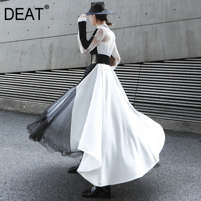 DEAT 2019 New Spring Summer Fashion Women Clothes V neck Full Sleeves Patchwork Lace Double Buttons