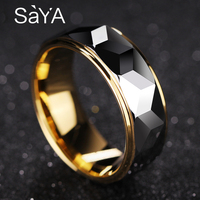 Hot Selling 8mm Width Gold Color Plating Tungsten Rings for Man Woman Engagement Prism Design Men's Band Alianca De Casamento
