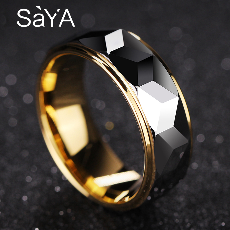 Vente chaude 8mm largeur or couleur placage tungstène anneaux pour homme femme fiançailles prisme conception hommes bande Alianca De Casamento