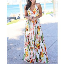2019 New Floral Print Party Long Dress Women Summer Sexy V-Neck Spaghetti Strap Dress A-Line Beach Bohemian Dresses bohemian v neck spaghetti strap floral print women s dress