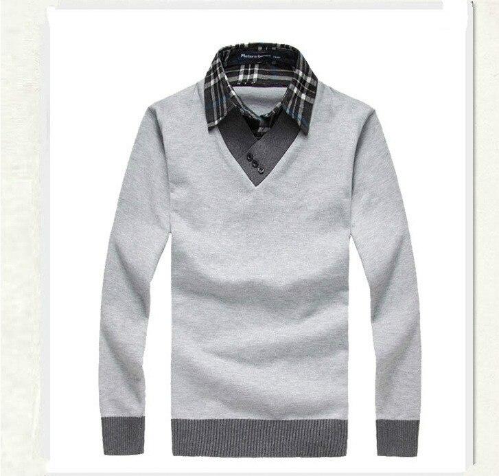 2019 Autumn Winter Men Sweater Fake Two Shirt Collar Sweater Male Casual Wear Knitwear Sweater Men