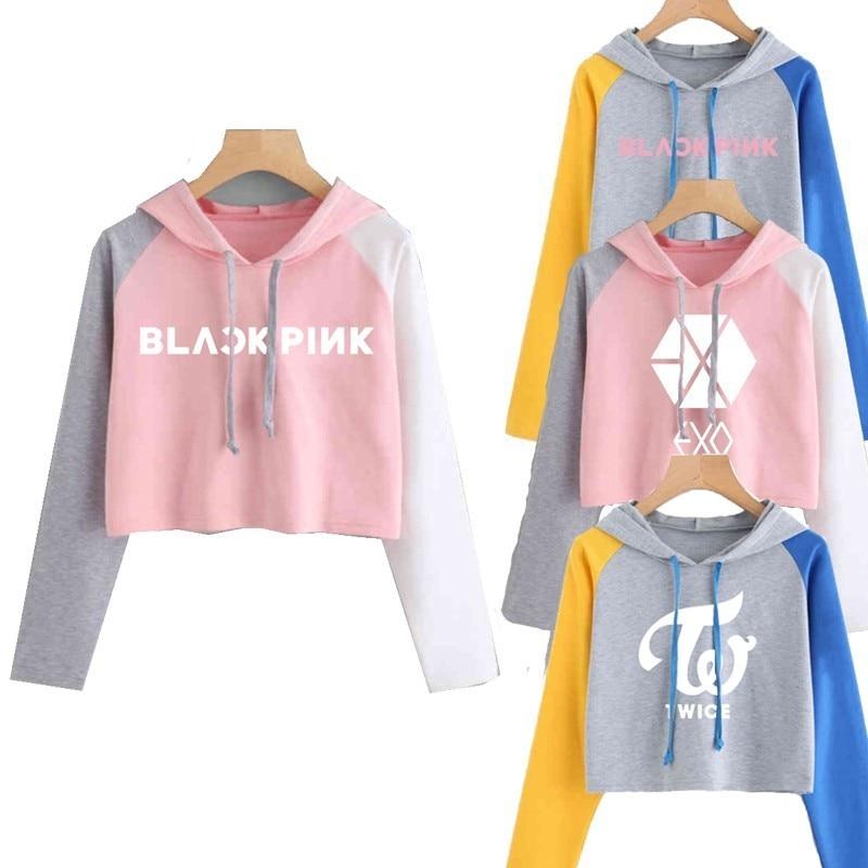 4dcfa17153b 2019 Bts Blackpink ЭКЗО К Поп модные толстовки с капюшоном для Для женщин  Got7 семнадцать монста