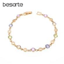 Женский браслет с кристаллами золотистого цвета колье ремешком