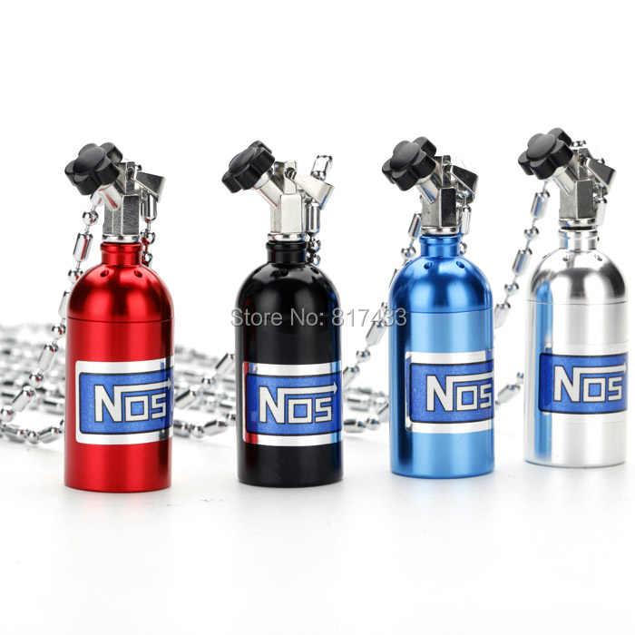 Wholesale 10-100pcs 4 colors NOS Bottle Tank Car Air Freshener Perfume Clip  JDM Tuning Keychain