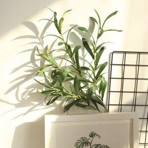 Image 5 - 1 * falso flor 6 forquilha artificial falso flores folha de oliva ramo folhas de oliveira folhagem decoração de casa buquês de casamento planta