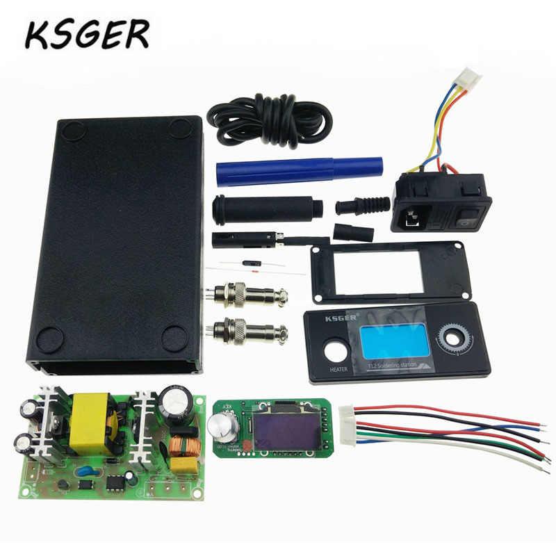 KSGER T12 V2.0 STM32 OLED Digitale Löten Station Controller 5 Core Silikon Draht Metall Fall 9501 Löten Griff Set Langlebig