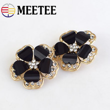 MEETEE 5pcs 38mm Top-grade Rhinestone Flower Shape Metal Buttons for Mink Coat Womens Clothes Accessories  ZK1013
